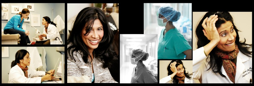 Multiple images of Dr. Naomi Paschall at work and caring for patients